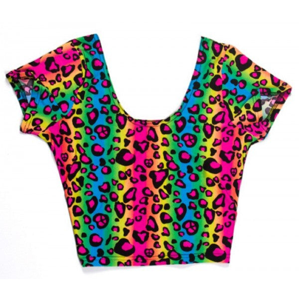 Neon Rainbow Animal Leopard Print Tank Crop Top Sexy Spandex Shirt Rave Costume - Neon Nation