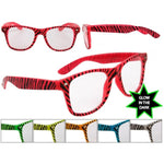 Load image into Gallery viewer, Zebra Print Glow In The Dark Wayfarer Style Clear Lens Glasses /Sunglasses Trend