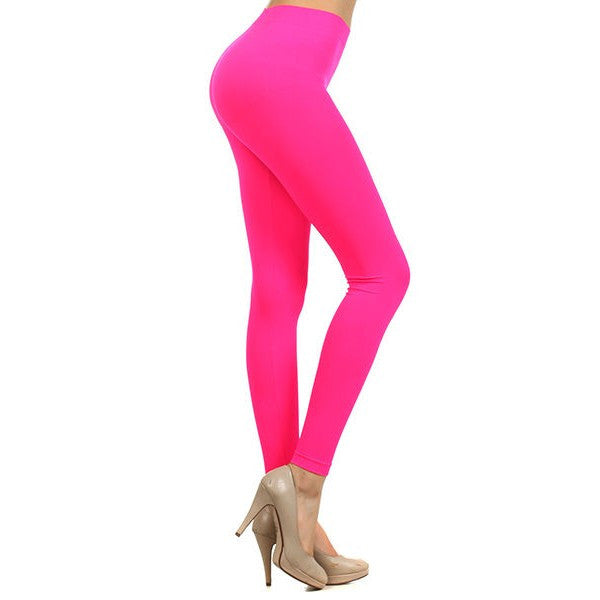 243f83ca84 Neon Colored Seamless Full Length Leggings Stretchy Pants Trendy Athletic  Style - Neon Nation