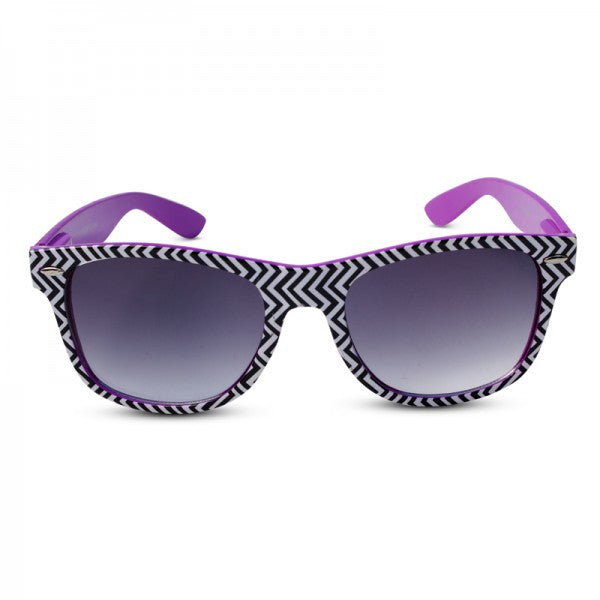 Neon Frame w/ Black & White Zig Zag Chevron Pattern Print Wayfarer Sunglasses - Neon Nation