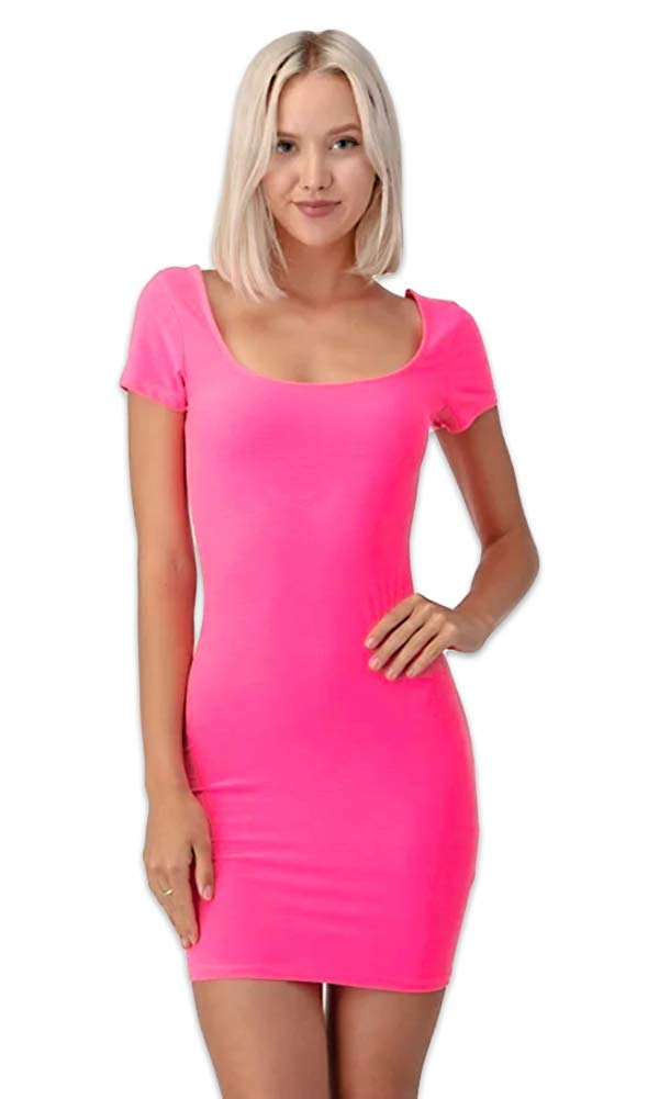 Short Sleeve Double Scoop Neck Bodycon Mini Dress