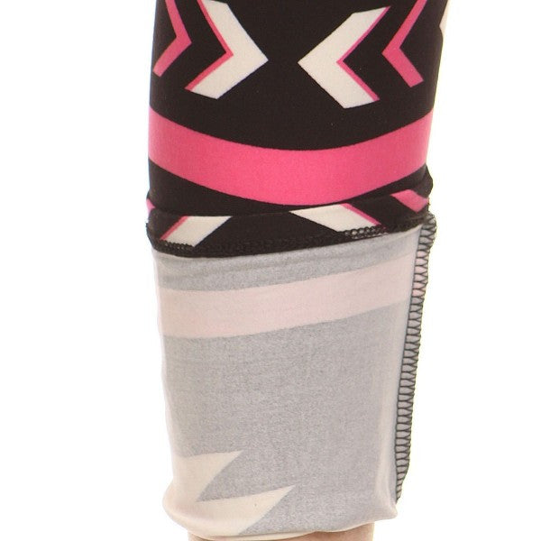 Pink/Black Aztec Tribal Geometric Navajo Print Pattern Leggings Pants - Neon Nation