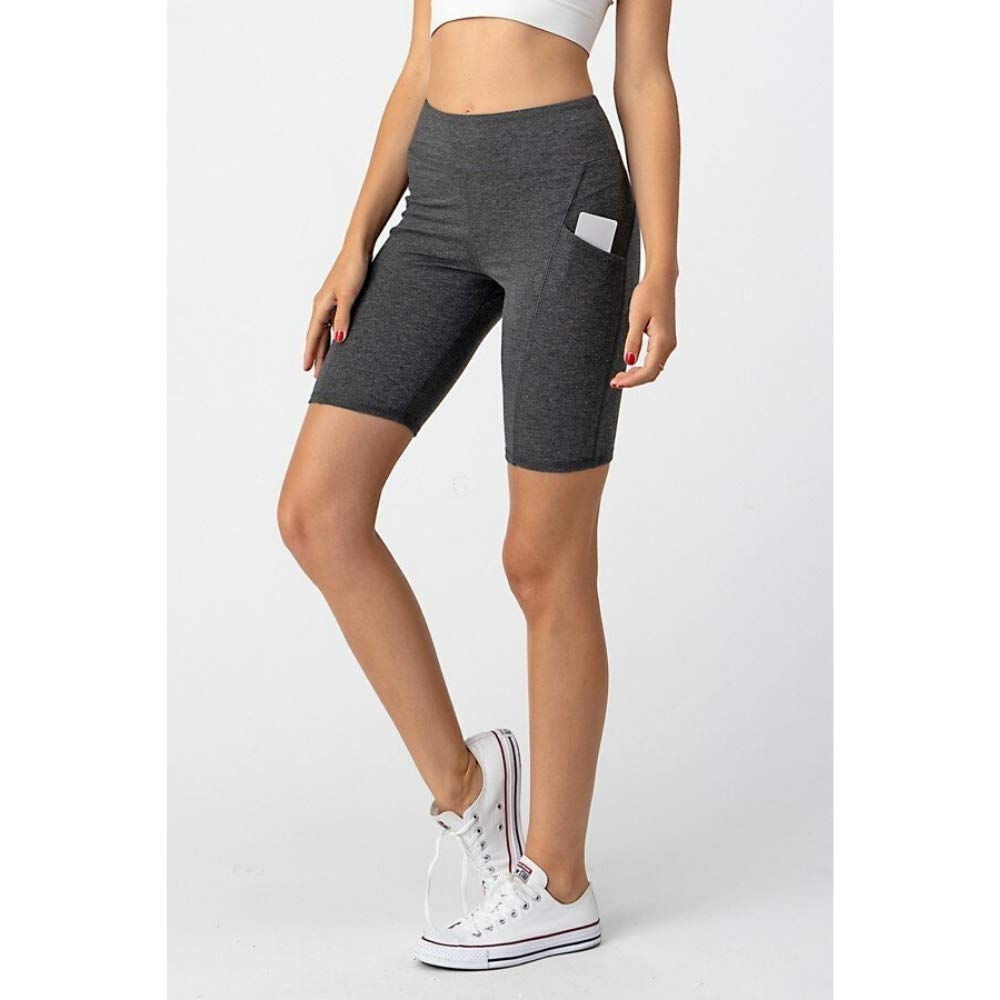 Active Cut High Waist Workout Biker Shorts with Slim Side Pockets