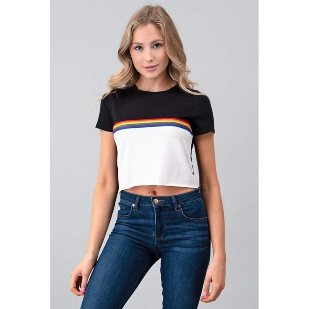 Rainbow Stripe Color Block Short Sleeve Crop Top