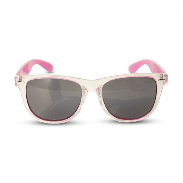 Transparent Face w/ Colored Temples Black & Colored Lens Wayfarer Sunglasses - Neon Nation