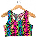 Load image into Gallery viewer, Neon Leopard Rainbow Animal Print T-Back Tank Crop Top