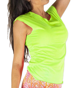 Womens Off The Shoulder Neon 1980s T-Shirt