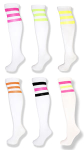 Neon 6 Pack -White Knee High Tube Socks w/ Neon Stripes - Neon Nation