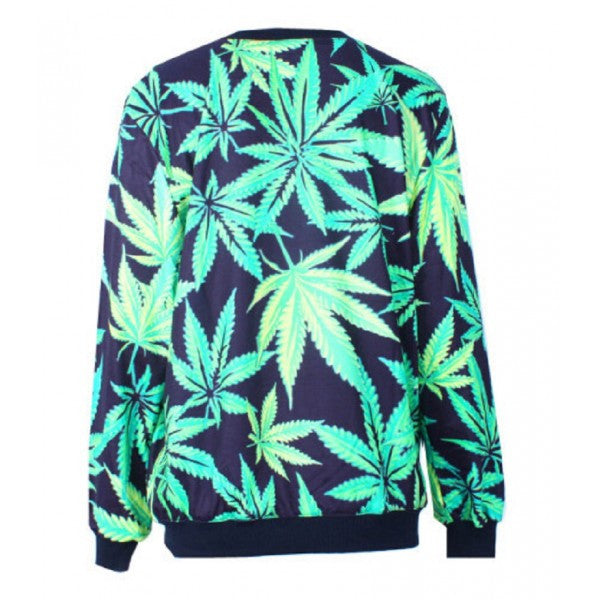Green Marijuana Weed Leaf Print Pattern Pull Over Sweater Sweatshirt 420 Ganja - Neon Nation