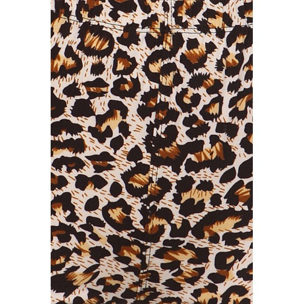 Brown Cheetah Animal Print Lined Leggings Pants w/ Elastic Waist - Neon Nation