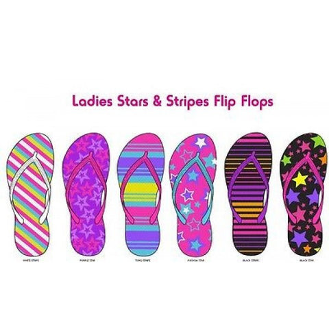 STARS & STRIPES Neon CANDY Colored FLIP FLOPS Graphic SANDALES 5-11 FREE SHIP - Neon Nation