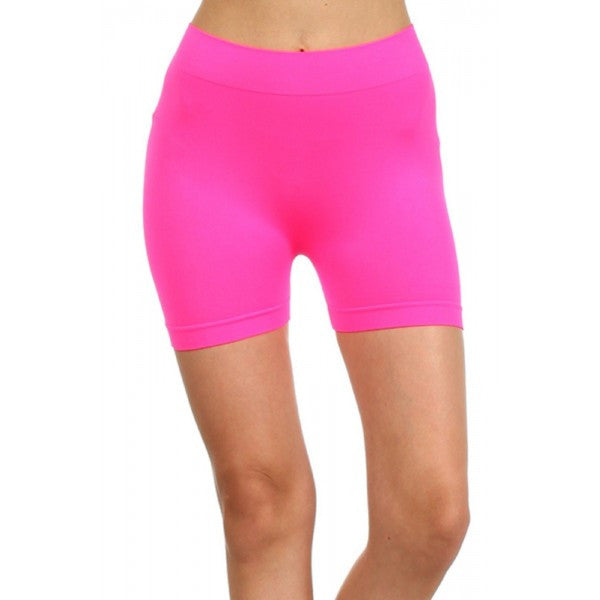 Neon Fluorescent Colored Seamless Spandex Work Out Shorts w/ High Waist Yoga - Neon Nation