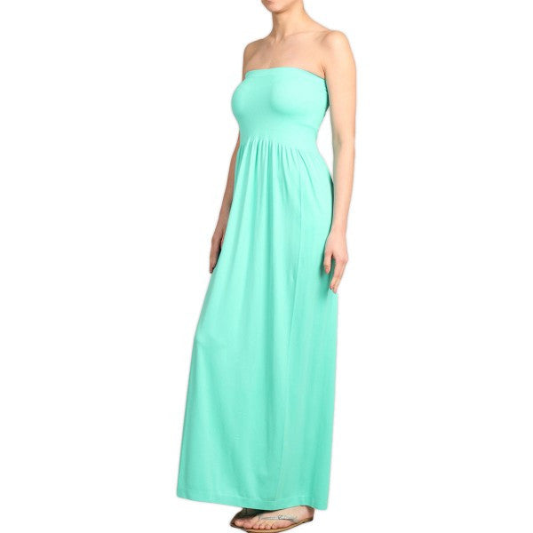 Solid Color Long Seamless Style Strapless Tube Maxi Dress - Neon Nation