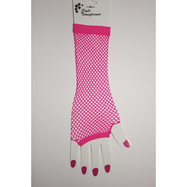 Neon Fish Net Long Arm Sleeve Glove Trendy Fashion Punk Style - Neon Nation
