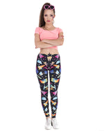 Load image into Gallery viewer, Black w/ Colorful 80s 90s Costume Print Leggings