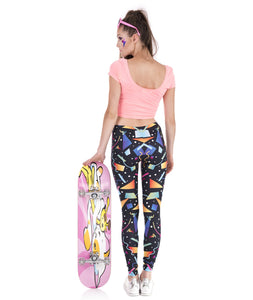 Black w/ Colorful 80s 90s Costume Print Leggings
