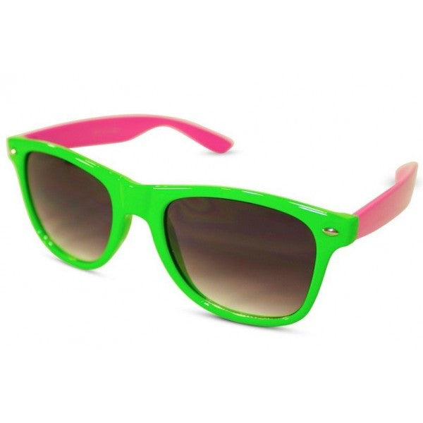 Neon Two-Tone Wayfarer Sunglasses w/ Dark Lens - Neon Nation