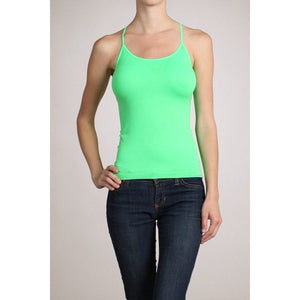 Seamless Short Camisole Tank Top Spaghetti Strap Tee - Neon Nation