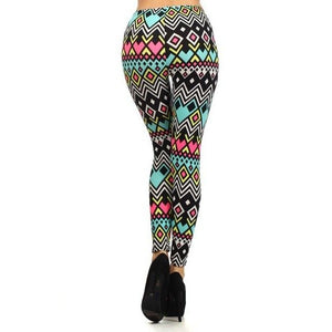 Neon Pink/Blue Aztec Print Colorful Leggings - Neon Nation