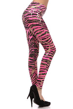 Load image into Gallery viewer, Metallic Neon Animal Zebra Print Leggings w/ Gold Accents Pants