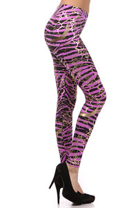 Metallic Neon Animal Zebra Print Leggings w/ Gold Accents Pants