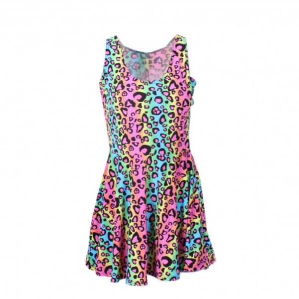 Neon Rainbow Leopard Cheetah Print Knee Length Mini Dress Rave Party Fun - Neon Nation