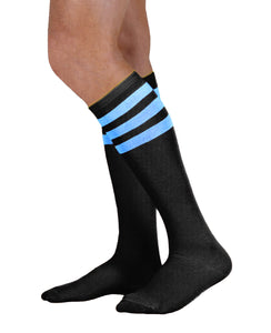 Unisex adult size black knee high tube sock with three neon blue stripes