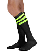 Load image into Gallery viewer, Unisex adult size black knee high tube sock with three neon lime green stripes