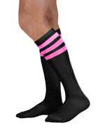 Load image into Gallery viewer, Unisex adult size black knee high tube sock with three neon hot pink stripes