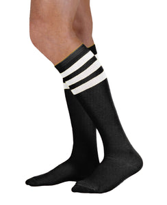Unisex adult size black knee high tube sock with three white stripes