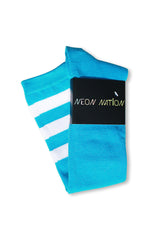 Load image into Gallery viewer, unisex adult size neon blue knee high tube sock with three white stripes