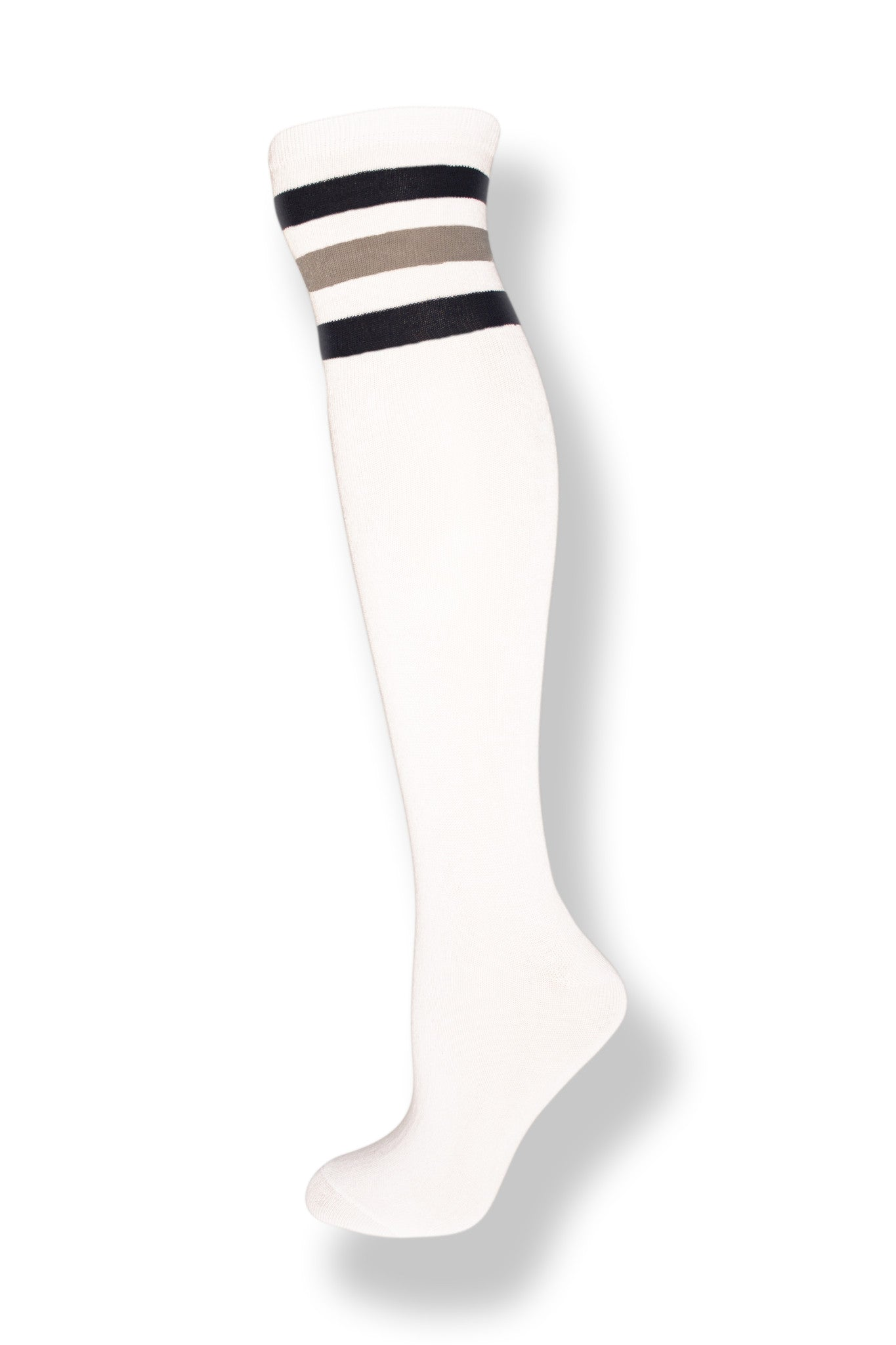 White with Navy and Gray Stripes Knee High Sock