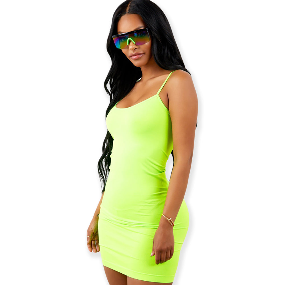 Neon Bodycon Mini Dress w/ Spaghetti Straps