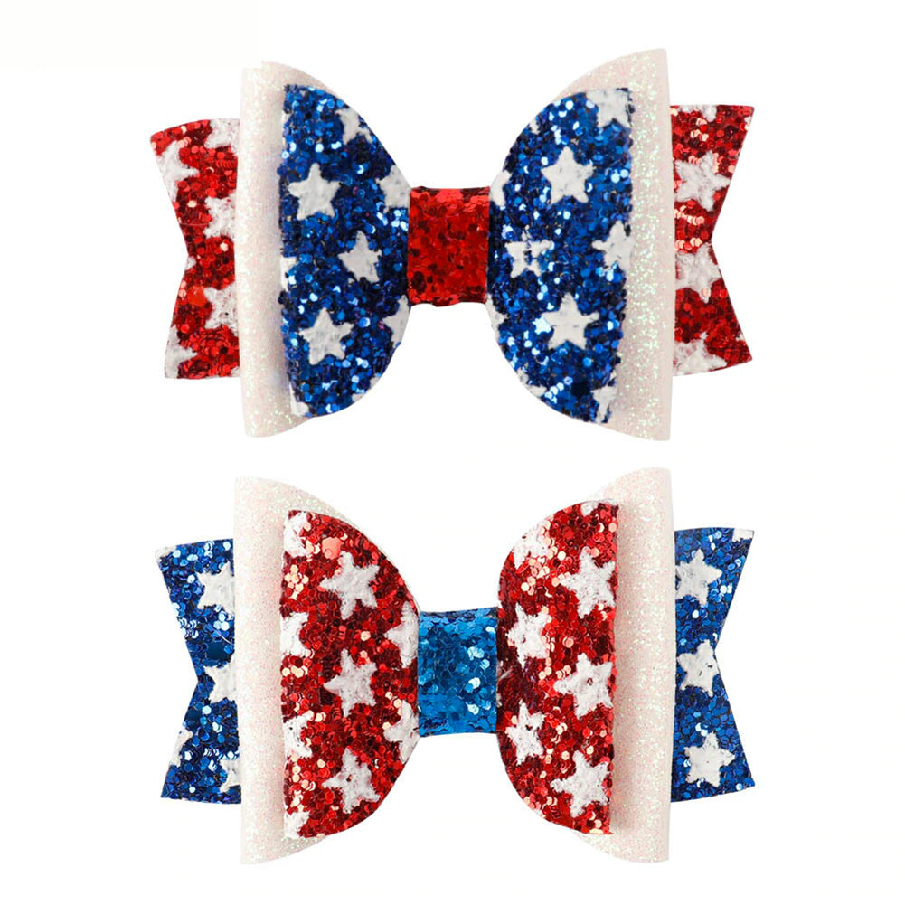 "2 Pack 3"" 4th Of July Glitter Sparkle Hair Bow with Alligator Clip"