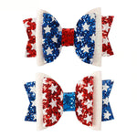 "Load image into Gallery viewer, 2 Pack 3"" 4th Of July Glitter Sparkle Hair Bow with Alligator Clip"
