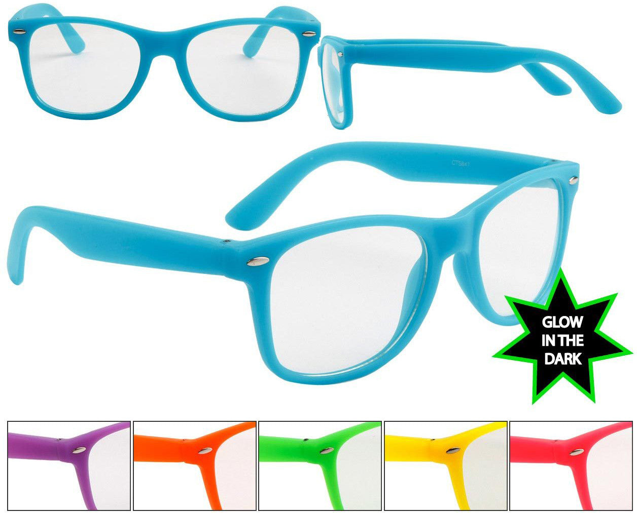 Neon Glow In The Dark Frame Glasses W Clear Lens Neon Nation