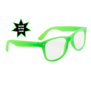Neon Glow In The Dark Frame Glasses w/ Clear Lens
