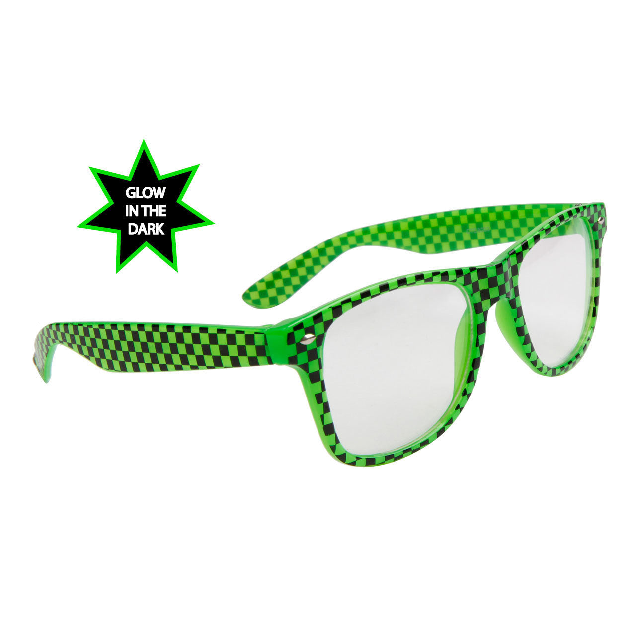 Glow In The Dark Clear Lens Wayfarer Sunglasses w/ Neon Checkered Frame