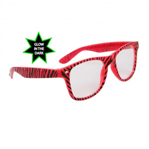 Zebra Print Glow In The Dark Wayfarer Style Clear Lens Glasses /Sunglasses Trend