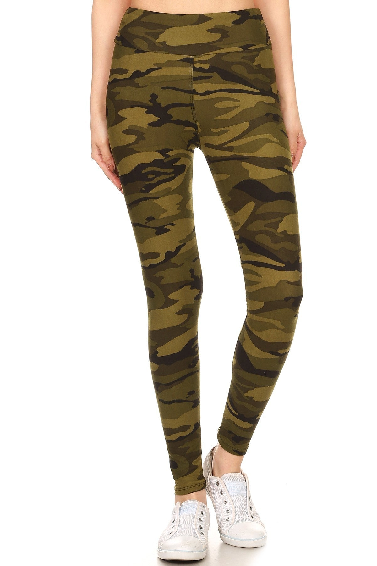 Camo Army Print Pattern Leggings w/ Banded Waist
