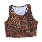 Load image into Gallery viewer, Printed Sleeveless Racerback Crop Top T-Shirt (Brown Animal Print)