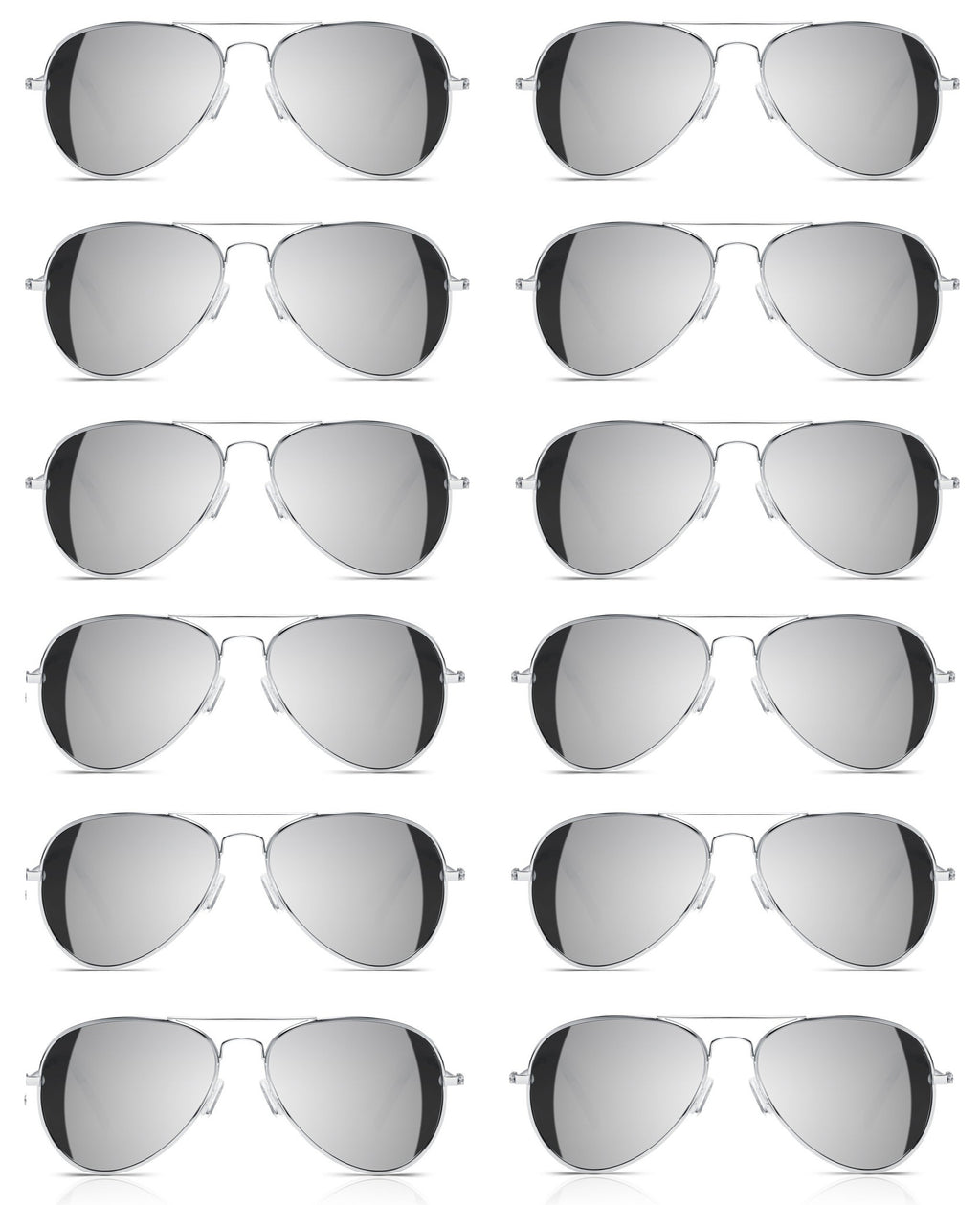 *LOT OF 12* Full Mirror Aviator Sunglasses w/ Metal Silver Frame Classic Retro - Neon Nation
