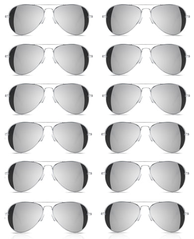 4827a7f6a *LOT OF 24* Full Mirror Aviator Sunglasses w/ Metal Silver Frame Classic  Retro