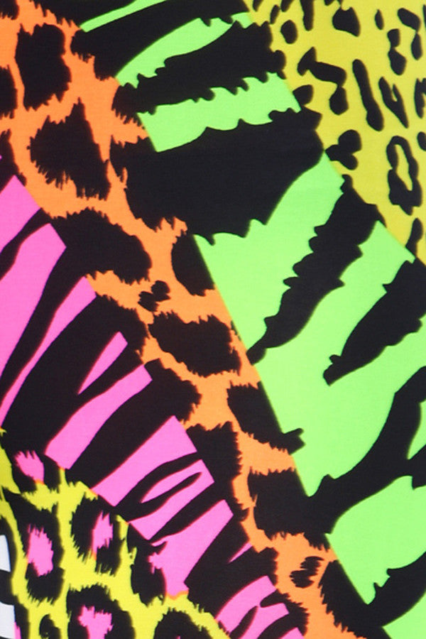 Neon Nation Multi Color Animal Print Bright Leggings 1980s Pants Zebra Cheetah Costume - Neon Nation