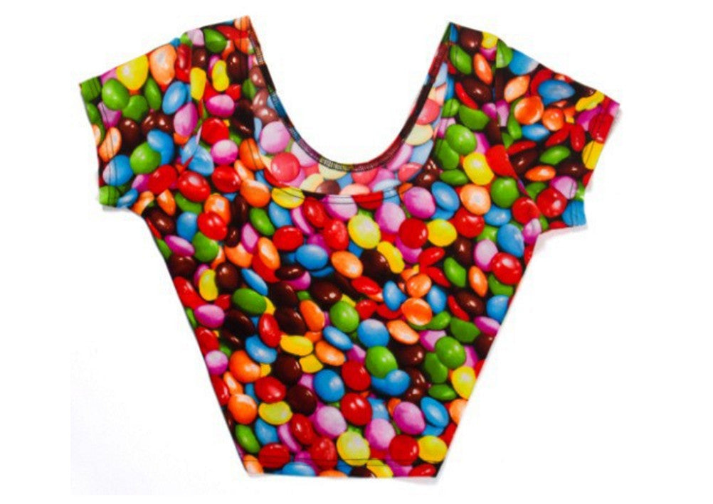 Neon Nation Candy Print Crop Top Cap Sleeve Tank Top - Neon Nation