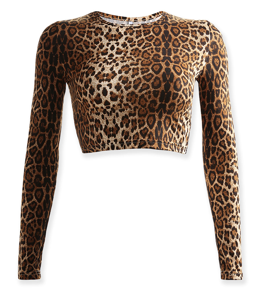 68092485d62494 Leopard Animal Print Long Sleeve O Neck Crop Top – Neon Nation