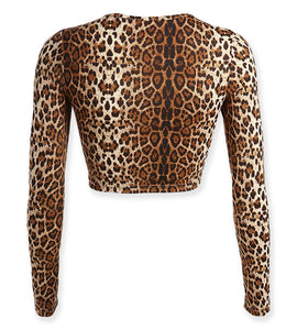Leopard Animal Print Long Sleeve O Neck Crop Top