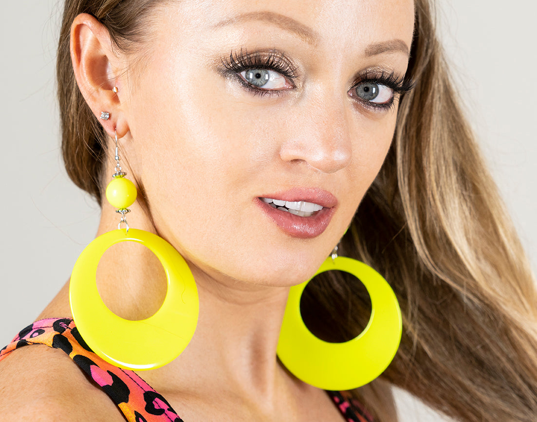 Neon Fluorescent Large Retro Hoop Dangle Costume Earring
