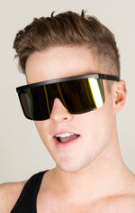 Load image into Gallery viewer, Large Cybertic Mirror Wrap Around Full Coverage Sunglasses