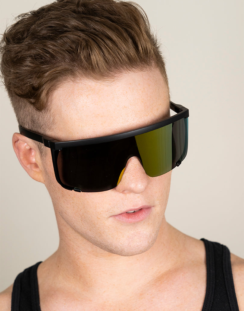 Large Cybertic Mirror Wrap Around Full Coverage Sunglasses
